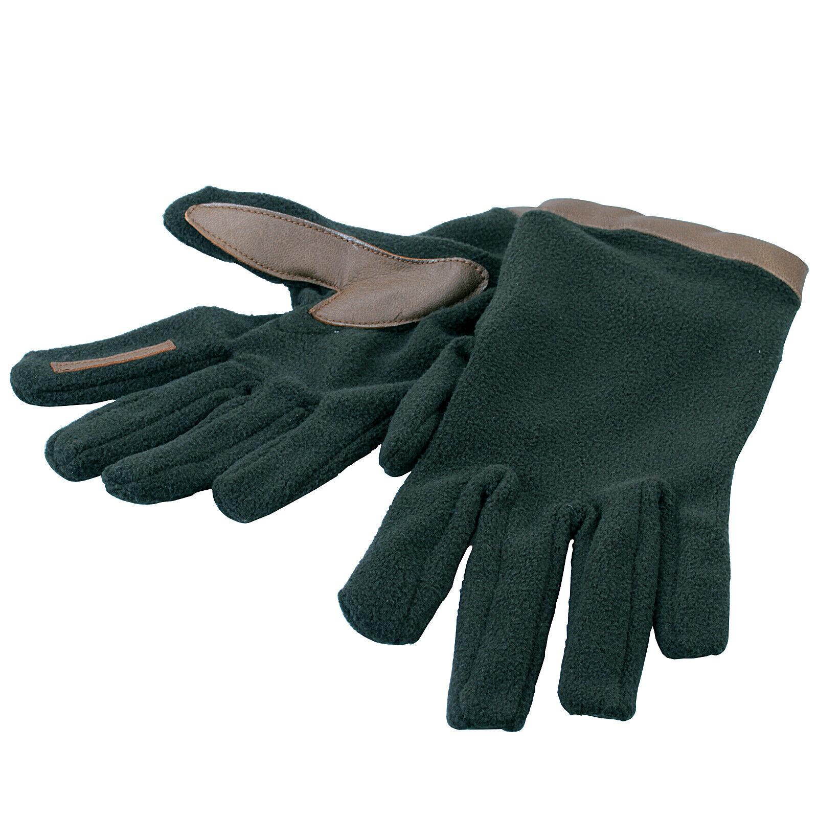 Bisley Fleece & Leather Gloves Green Thermal Mitts Men Women Small Medium Large