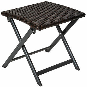 tabouret pliant en aluminium et poly rotin camping petite table d appoint jardin ebay. Black Bedroom Furniture Sets. Home Design Ideas