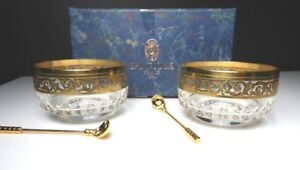 St Louis Crystal - France THISTLE Salt Cellars w/Spoons, Pair, Mint with Box