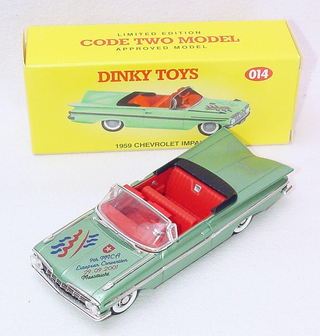 Matchbox Dinky Toys 1 43 Chevrolet Impala 1959 código de Coche Modelo de parte superior abierta - 2 014 Menta en caja