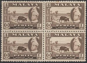 MALAYSIA-MALAYA-1957-PERLIS-1957-4c-SEPIA-BUFFALO-B-4-MNH
