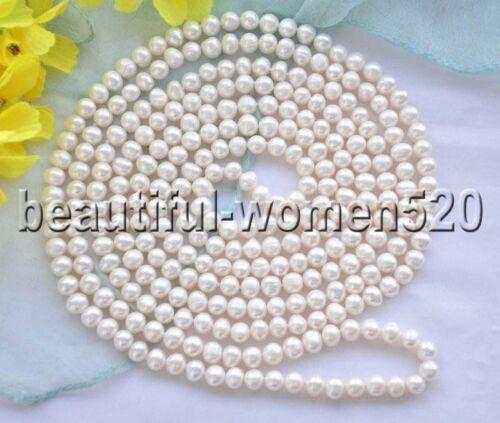 """X0018 long 80/"""" 8 mm Rond d/'eau douce collier de perles"""