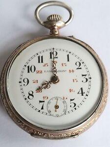 Swiss-LANGENDORF-Engraved-Silver-w-Gold-FANCY-HANDS-amp-CASE-Pocket-Watch-RUNS