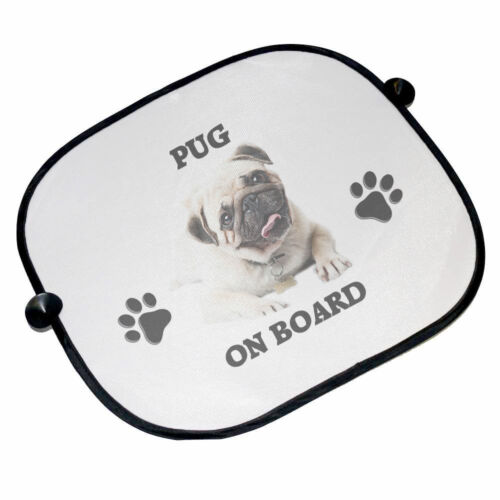 45cm x 36cm Pug On Board Car Sun Shades Brand New