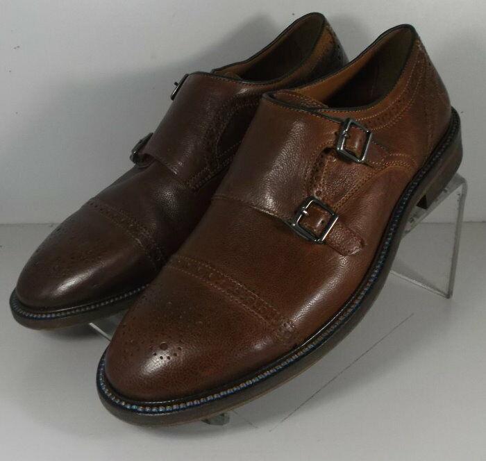 272402 SP50 Men's Shoes Size 9 M Brown Leather Double Buckle Johnston & Murphy