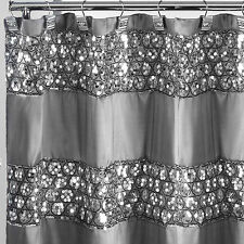 Popular Bath Sinatra Silver 70 x 72 Bathroom Fabric Shower Curtain & Hook Set