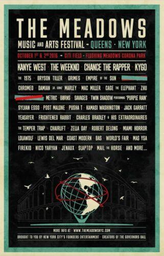 THE MEADOW/'S MUSIC FESTIVAL 2016 Poster Concert Lineup Multiple Sizes