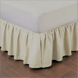 """1 IVORY SOLID DRESSING BED SKIRT PLEATED WITH OPEN CORNERS 14"""" INCH DROP NEW"""