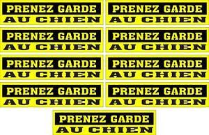 LOT-DE-9-AUTOCOLLANTS-LUSTRE-PRENEZ-GARDE-AU-CHIEN-POUR-INTERIEUR-OU-EXTERIEUR