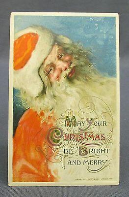 Antique Postcard Winsch Merry Bright Christmas St Nicholas in Orange Coat&Hat
