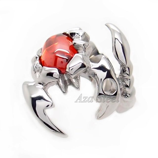 Men Silver Scorpion King Volcano Red Cubic Zirconia 316L Stainless Steel Ring