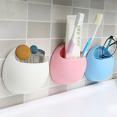 Kitchen Bathroom Stuff Organizer Wall Suction Cups Toothbrush Toothpaste Holder