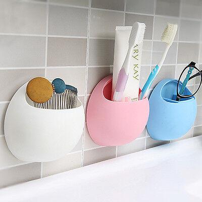 Kitchen Bathroom Stuff Organizer Wall Suction Cups Toothbrush Toothpaste Holder