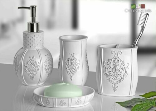 4 Piece Bathroom Accessories Set Bathroom S Vintage White Bathroom Accessories
