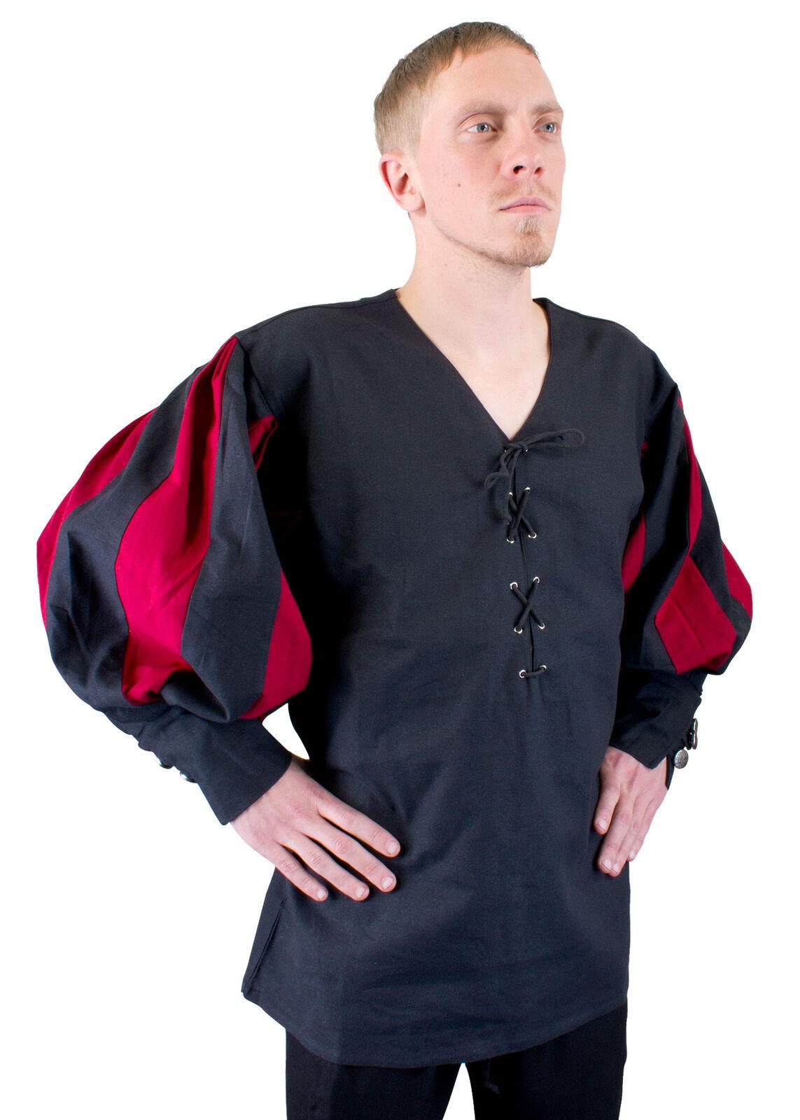 Landsknecht Shirt, black/dark red, Medieval LARP Costume Garment