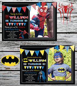Image Is Loading 10 Personalised Batman Spiderman Superhero Birthday Party Invitations