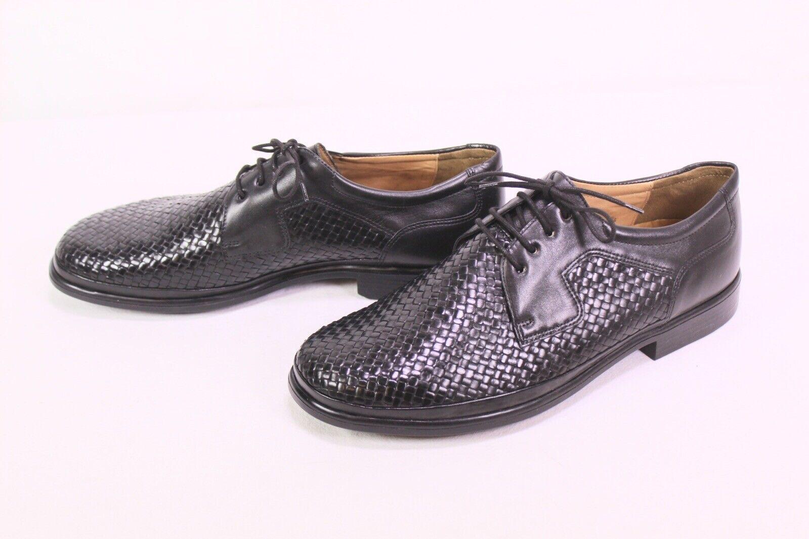 C385 Ströber Schuhe Leder schwarz Schnürschuhe Gr. 41 (7,5 G) Flechtleder neu