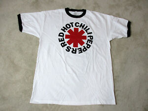 NEW-Red-Hot-Chili-Peppers-Concert-Shirt-Adult-Extra-Large-White-Ringer-Rock-Mens