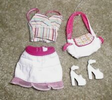 BARBIE DOLL CLOTHES - WHITE SKIRT, STRIPED TOP, SHOES, PURSE