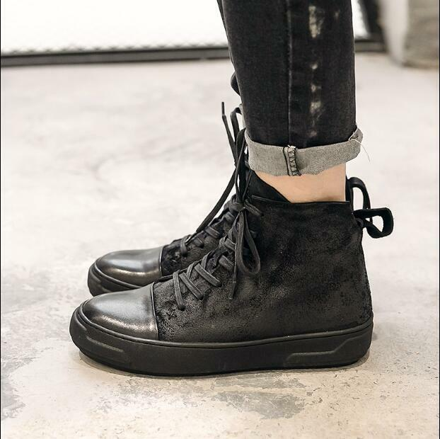 British Mens Leather Lace Up Ankle Boots Retro Platform shoes Winter Sneakers U6