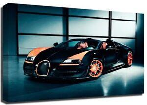 Framed Picture Print Bugatti Veyron 30x20 Inch Canvas Art Work