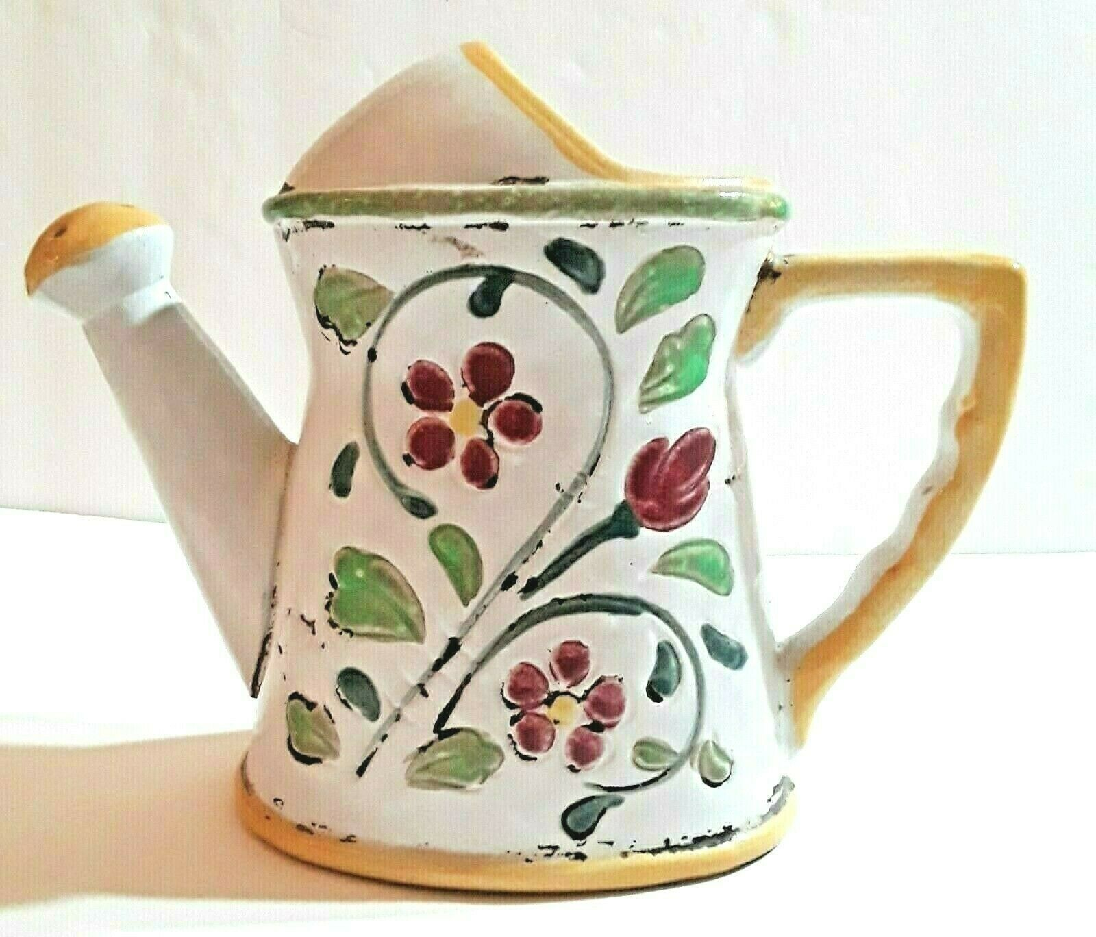 Ceramic Stoneware Hand Painted Watering Can Planter Floral Design 6-1/4