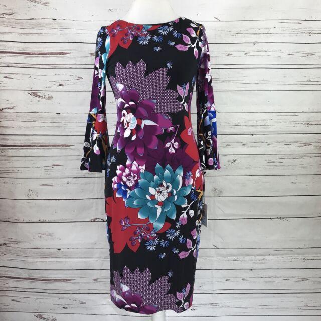 8936185057e7 Calvin Klein Scuba Crepe Floral Print Bell Sleeve Sheath Dress Size 4 NWT