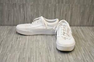 Vans-Old-Skool-Platform-Canvas-Skate-Shoes-Unisex-Men-039-s-6-Women-039-s-7-5-White