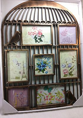 Multi- Photo Frame Bird Cage Design Plastic Copper Tone. 23 inches x 16 Wide.