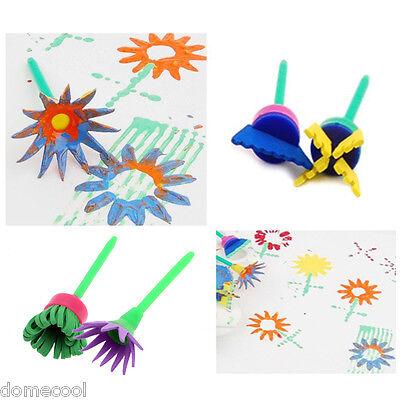 DIY 4X Flower Stamp Sponge Brush Tool Set Art Supplies Kids Painting Tools
