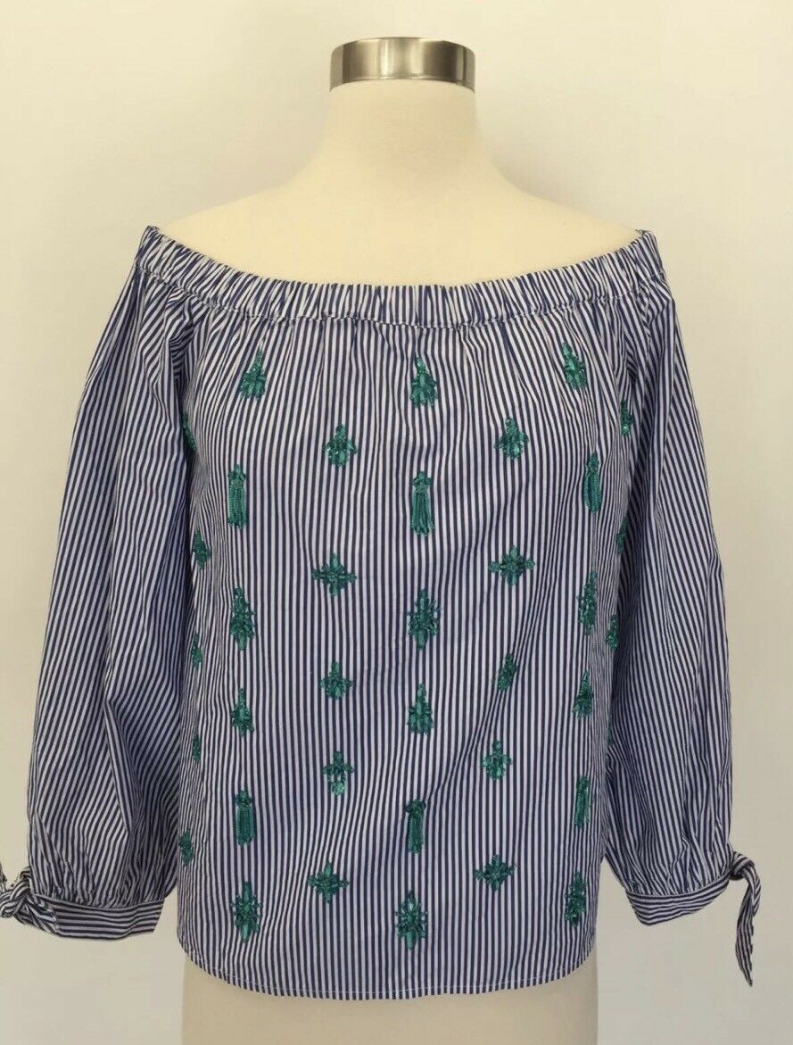 J Crew Embellished off-the-shoulder Striped Top Blouse Weiß Blau 14 G7522 New