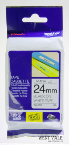 Brother P-Touch TZe-251-24mm x 8mtr Printer Tape Cassette Black on White New