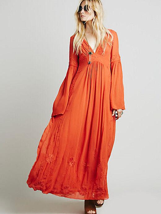2019 New Fashion  V  collar embroidery cotton blend full-length skirt dress Hot