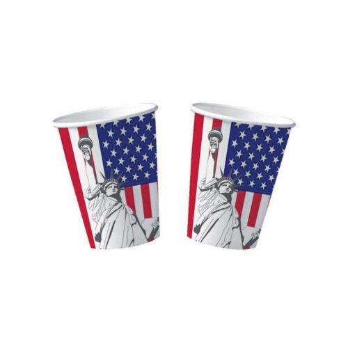 10 x USA Becher mit Freiheitsstatue für Amerika Motto Partys je 200 ml