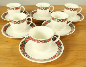 6-Kaffee-Tassen-auf-Untert-Villeroy-amp-Boch-Rialto-Porzellan-Service-V-amp-B