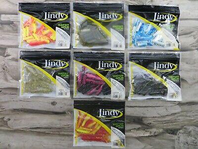 "LINDY WATSIT GRUB 150 2/"" 15 PACKS TOTAL 5 COLORS"