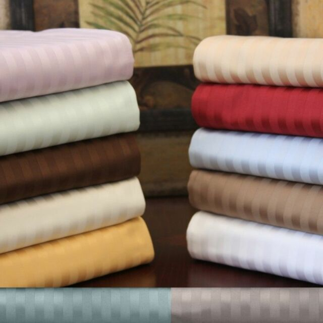 6 Pc Bed Sheets 1200Thread Count Egyptian Cotton US King Size Striped Colors