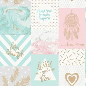 Details About Life Is Beautiful Collage Wallpaper Teal Pink Holden 90050 New