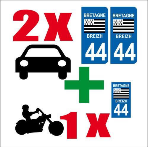 Lot 3 STICKERS 2 x AUTO+1x MOTO STYLE PLAQUE IMMATRICULATION BRETAGNE 44