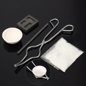 1Set-5PcsX-Torch-Melting-Kit-Gold-amp-Silver-Crucible-Borax-Tong-Rod-Graphite-Ingot