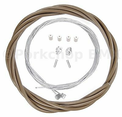CHOCOLATE BROWN Bicycle 5mm LINED brake cable housing and hardware kit BMX MTB