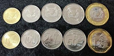 1 DOLLAR BIMETALLIC 2013 UNC 20 10 SINGAPORE 5 COINS SET 5 50 CENTS