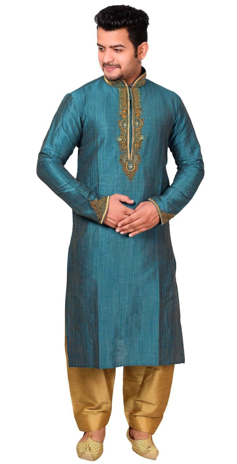 Mens Kurta Salwar Kameez Pyjama Asian Heavy Wedding Party Sherwani Outfit 1844