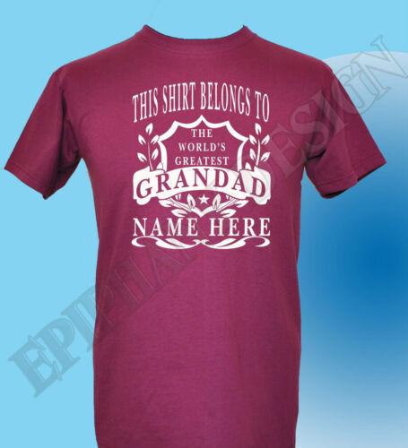 Le Grand-Père WORLD/'S GREATEST T-shirt Personnalisé ajouter votre nom Cadeau Grand-père