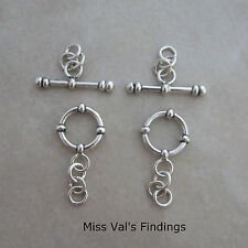 2 accented sterling silver Bali toggle clasps 12mm