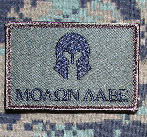 MOLON-LABE-SPARTAN-ARMY-USA-MORALE-BADGE-FOREST-VELCRO-BRAND-FASTENER-PATCH