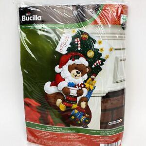Bucilla-Santa-Teddy-Bear-18-034-Felt-Christmas-Stocking-Kit-86503-Tree-Train-2014