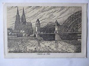 Ansichtskarte-Koeln-a-Rh-Partie-auf-Hohenzollernbruecke-1921-Federzeichnung