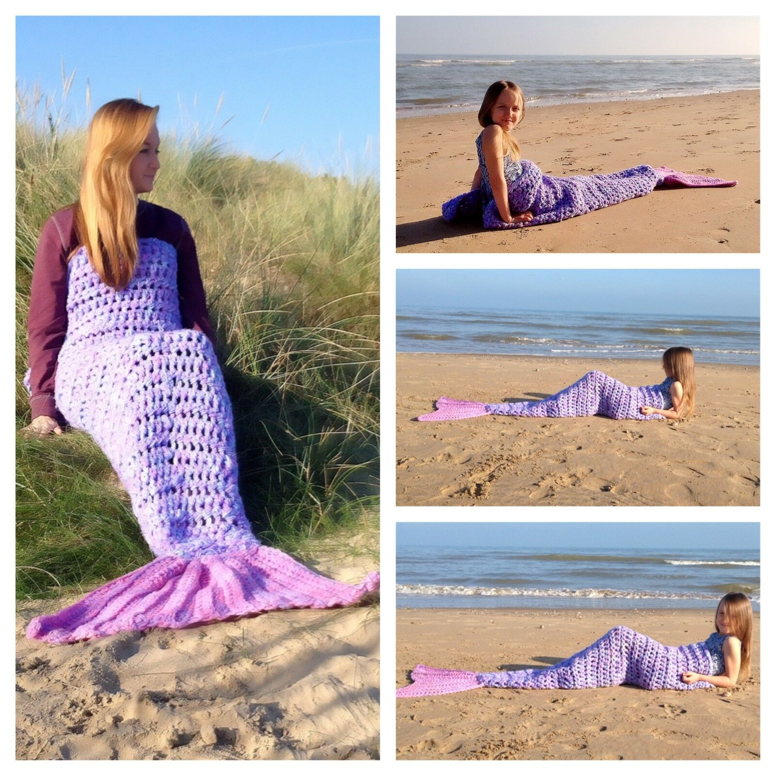 Crochet Mermaid Tail Blanket Chunky Throw gift for her Handmade in UK Baby-Adult