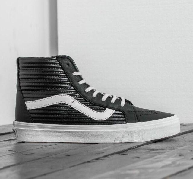 0765e5f6f5 VANS Sk8 Hi Reissue Moto Leather Black blanc De Blanc Women s Shoes ...